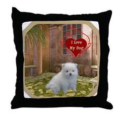Pomeranian Puppy Throw Pillow