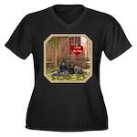 Poodle Women's Plus Size V-Neck Dark T-Shirt