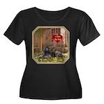 Poodle Women's Plus Size Scoop Neck Dark T-Shirt
