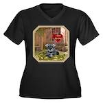 Schnauzer #1 Women's Plus Size V-Neck Dark T-Shirt