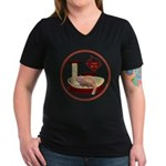 Cat #3 Women's V-Neck Dark T-Shirt