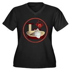 Cat #4 Women's Plus Size V-Neck Dark T-Shirt