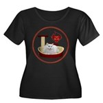 Cat #5 Women's Plus Size Scoop Neck Dark T-Shirt