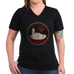 Cat #5 Women's V-Neck Dark T-Shirt