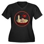Cat #7 Women's Plus Size V-Neck Dark T-Shirt