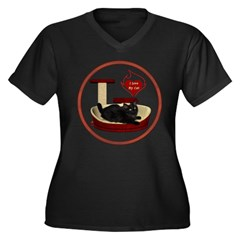 Cat #8 Women's Plus Size V-Neck Dark T-Shirt