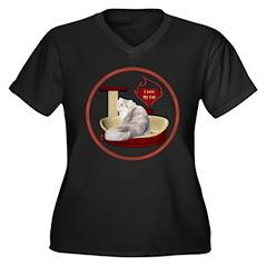 Cat #11 Women's Plus Size V-Neck Dark T-Shirt