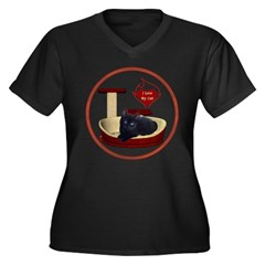 Cat #13 Women's Plus Size V-Neck Dark T-Shirt