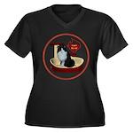 Cat #15 Women's Plus Size V-Neck Dark T-Shirt