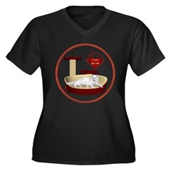Cat #16 Women's Plus Size V-Neck Dark T-Shirt