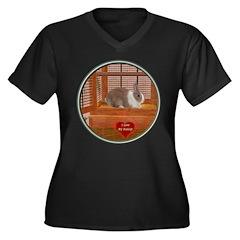 Bunny #1 Women's Plus Size V-Neck Dark T-Shirt