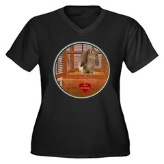 Bunny #2 Women's Plus Size V-Neck Dark T-Shirt
