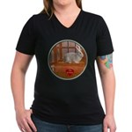 Bunny #3 Women's V-Neck Dark T-Shirt