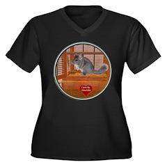 Chinchilla #1 Women's Plus Size V-Neck Dark T-Shir