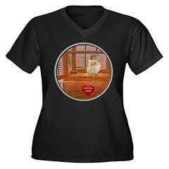 Gerbil Women's Plus Size V-Neck Dark T-Shirt