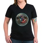 AKSC - Where's Santa? Women's V-Neck Dark T-Shirt