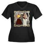 Aladdin Women's Plus Size V-Neck Dark T-Shirt