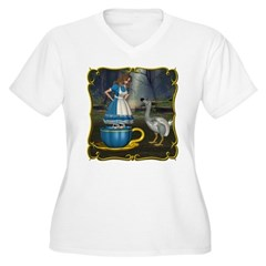 Alice in Wonderland Women's Plus Size V-Neck T-Shi