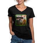 Black Sheep N Farmer Women's V-Neck Dark T-Shirt
