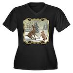 Bambi On Ice Women's Plus Size V-Neck Dark T-Shirt