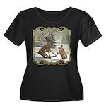 Bambi On Ice Women's Plus Size Scoop Neck Dark T-S