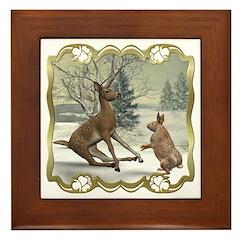 Bambi On Ice Framed Tile