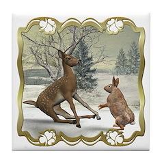 Bambi On Ice Tile Coaster