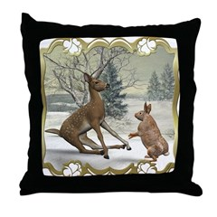 Bambi On Ice Throw Pillow