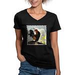 The Cock Crows Women's V-Neck Dark T-Shirt