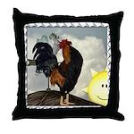 The Cock Crows Throw Pillow