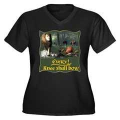 Every Knee Shall Bow Women's Plus Size V-Neck Dark