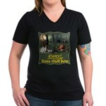 Every Knee Shall Bow Women's V-Neck Dark T-Shirt