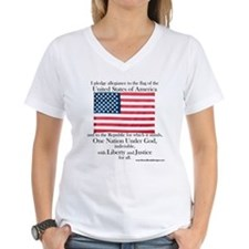 Pledge of Allegiance U.S. Flag Women's V-Neck Tee