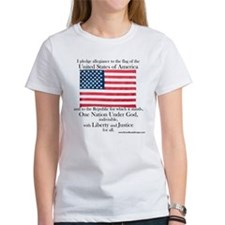 Women's Pledge of Allegiance U.S. Flag White Tee