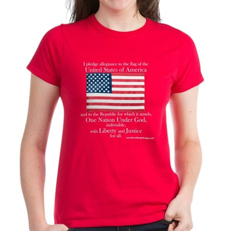 Pledge of Allegiance U.S. Flag Womens Dark T-Shirt