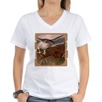 Flight of the Gyr Falcon Women's V-Neck T-Shirt