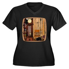 HDD Up the Clock! Women's Plus Size V-Neck Dark T-