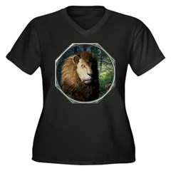 King of the Jungle Women's Plus Size V-Neck Dark T