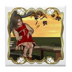 Little Miss Muffet Tile Coaster