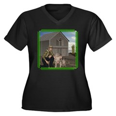Old MacDonald Women's Plus Size V-Neck Dark T-Shir
