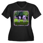 The Purple Cow Women's Plus Size V-Neck Dark T-Shi