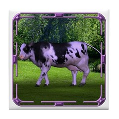 The Purple Cow Tile Coaster