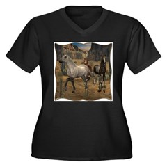 Southwest Horses Women's Plus Size V-Neck Dark T-S