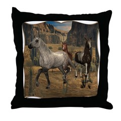 Southwest Horses Throw Pillow