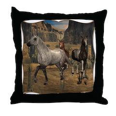 Southwest Horses Throw Pillow