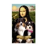 MonaLisa-Two Aussie Sheps. Sticker (Rectangle)