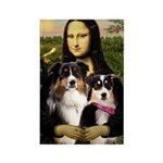 MonaLisa-Two Aussie Sheps. Rectangle Magnet (10 pa