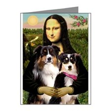 MonaLisa-Two Aussie Sheps. Note Cards (Pk of 20)
