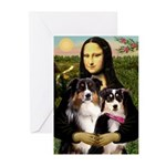 MonaLisa-Two Aussie Sheps. Greeting Cards (Pk of 1