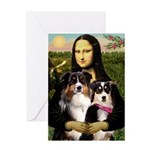 MonaLisa-Two Aussie Sheps. Greeting Card